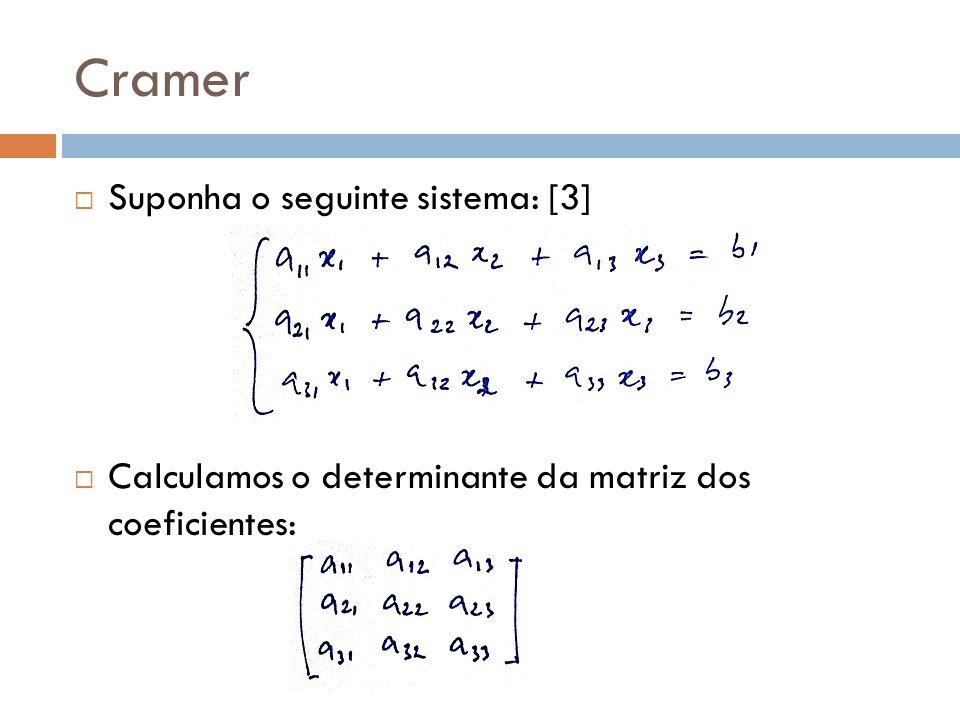 Cramer Suponha o seguinte sistema: [3]